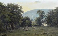SHEEP GRAZING IN THE GLENS by Charles McAuley at Ross's Auctions