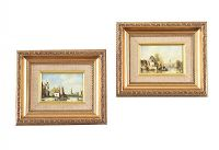 PAIR OF FRAMED OIL PAINTINGS ON PANEL at Ross's Auctions