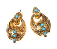 VICTORIAN 15CT GOLD DROP EARRINGS SET WITH TURQUOISE by Turquoise at Ross's Auctions