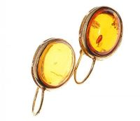 STERLING SILVER GILT DROP EARRINGS SET WITH AMBER-COLOURED RESIN at Ross's Jewellery Auctions