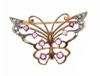 9CT GOLD RUBY AND DIAMOND BUTTERFLY BROOCH at Ross's Jewellery Auctions