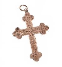 9CT ROSE-GOLD CROSS at Ross's Jewellery Auctions