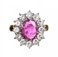 18CT GOLD RUBY AND DIAMOND CLUSTER DRESS RING at Ross's Jewellery Auctions