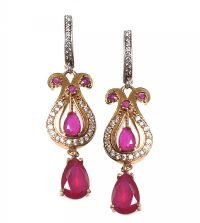 SILVER GILT CUBIC ZIRCONIA AND RECONSTITUTED RUBY EARRINGS at Ross's Jewellery Auctions