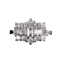 PLATINUM AND DIAMOND CLUSTER BOAT RING at Ross's Jewellery Auctions