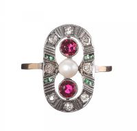 18CT GOLD EMERALD, DIAMOND, RUBY AND PEARL ANTIQUE RING at Ross's Jewellery Auctions