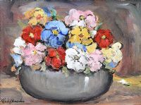 STILL LIFE, BOWL OF FLOWERS by Gladys Maccabe HRUA
