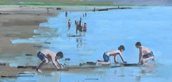 LADS PLAYING, INCH BEACH by John Morris at Ross's Auctions