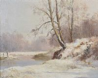 WINTER SCENE, RIVER LAGAN AT THE MINNOWBURN by Maurice Canning  Wilks ARHA RUA at Ross's Auctions