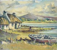 THATCHED COTTAGE BY THE LOUGH by Kenneth Webb RUA at Ross's Auctions