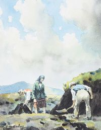 DIGGING TURF IN THE GLENS by Charles McAuley at Ross's Auctions