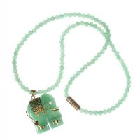 JADE BEADED NECKLACE WITH 18CT GOLD AND JADE ELEPHANT PENDANT by Jade at Ross's Auctions