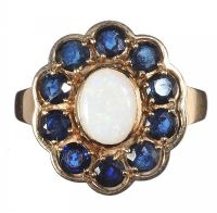9CT GOLD OPAL AND SAPPHIRE CLUSTER RING at Ross's Jewellery Auctions