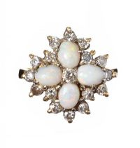 18CT GOLD OPAL AND DIAMOND CLUSTER RING at Ross's Jewellery Auctions