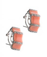 14CT WHITE GOLD CORAL AND DIAMOND EARRINGS at Ross's Jewellery Auctions