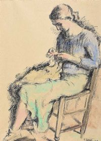 WOMAN KNITTING by Mainie Jellett at Ross's Auctions