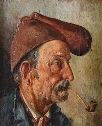 MAN WITH A PIPE by French School at Ross's Auctions