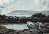 BOATS BY THE ROCKS ON THE ANTRIM COAST by Charles McAuley at Ross's Auctions