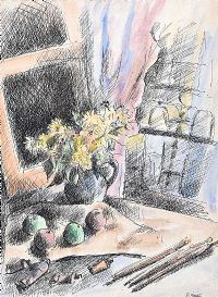 STILL LIFE, FLOWERS BY A WINDOW by Daniel O'Neill at Ross's Auctions