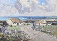 COTTAGES, BLOODY FORELAND, DONEGAL by Rowland Hill RUA at Ross's Auctions