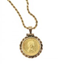 14CT GOLD ROPE-LINK CHAIN AND CANADIAN 1/10TH OZ GOLD MAPLE LEAF COIN at Ross's Jewellery Auctions