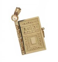 9CT GOLD BIBLE CHARM at Ross's Jewellery Auctions