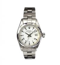 ROLEX STAINLESS STEEL OYSTER PERPETUAL DATE LADY'S WRIST WATCH at Ross's Auctions
