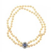 DOUBLE STRAND OF CULTURED PEARLS SET WITH A SAPPHIRE AND DIAMOND CLASP at Ross's Jewellery Auctions