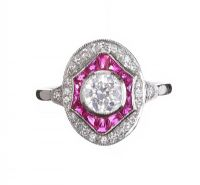 18CT WHITE GOLD RUBY AND DIAMOND RING IN THE STYLE OF ART DECO at Ross's Auctions