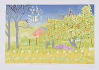 APPLE TREES AT SUNSET WITH FULL MOON by David Milward at Ross's Auctions
