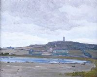 SCRABO TOWER ACROSS STRANGFORD LOUGH by Hans Iten RUA at Ross's Auctions