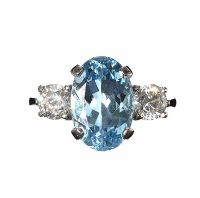 PLATINUM AQUAMARINE AND DIAMOND THREE STONE RING at Ross's Auctions