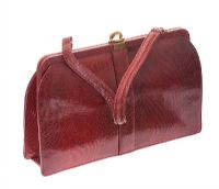 1950'S RED LIZARD LEATHER HANDBAG at Ross's Jewellery Auctions