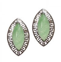 STERLING SILVER EARRINGS SET WITH JADE at Ross's Jewellery Auctions