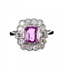PLATINUM PINK SAPPHIRE AND DIAMOND RING at Ross's Auctions