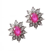 9CT GOLD RUBY AND DIAMOND CLUSTER EARRINGS at Ross's Auctions