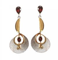 STERLING SILVER GILT DROP EARRINGS WITH GARNETS BY SHONA D at Ross's Jewellery Auctions