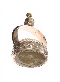 VICTORIAN GOLD-PLATED INTAGLIO SEAL FOB WITH AGATE at Ross's Jewellery Auctions