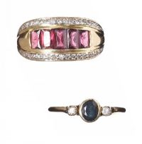 TWO GEM-SET 9CT GOLD RINGS at Ross's Jewellery Auctions