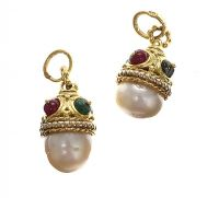18CT YELLOW GOLD CHARMS WITH NATURAL PEARL, RUBY, EMERALD & DIAMOND at Ross's Jewellery Auctions