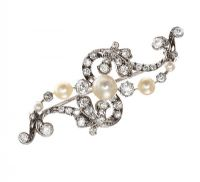 VICTORIAN 18CT WHITE GOLD BROOCH SET WITH NATURAL PEARLS AND DIAMONDS at Ross's Online Art Auctions