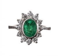 18CT WHITE GOLD EMERALD AND DIAMOND CLUSTER RING at Ross's Auctions