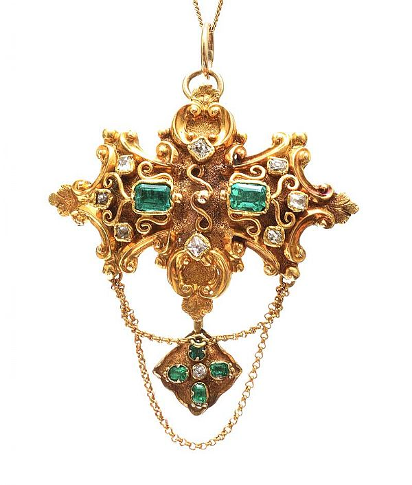VICTORIAN 18CT EMERALD AND DIAMOND BROOCH PENDANT at Ross's Online Art Auctions