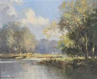 ON THE RIVER LAGAN NEAR SHAWS BRIDGE by Maurice Canning  Wilks ARHA RUA at Ross's Auctions