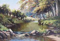 SUMMER MORNING, RIVER DALL, GLENS OF ANTRIM by Charles McAuley at Ross's Auctions