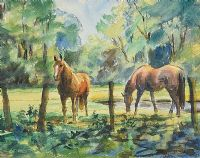 HORSES GRAZING by Coralie de Burgh Kinahan at Ross's Auctions