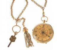 18CT GOLD ENGRAVED OPEN-FACED GENT'S POCKET WATCH WITH 15CT GOLD TASSELLED WATCH CHAIN at Ross's Jewellery Auctions