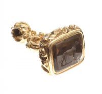 18CT GOLD SMOKEY QUARTZ FOB at Ross's Jewellery Auctions