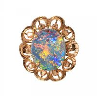 18CT GOLD OPAL DOUBLET DRESS RING at Ross's Jewellery Auctions