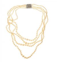 DIAMOND-SET PEARL NECKLACE at Ross's Jewellery Auctions